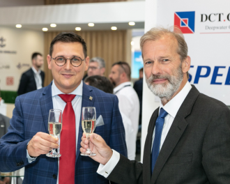 Lukasz Greinke, president of the board of the port of Gdansk Authority and Allard Castelein, CEO Port of Rotterdam Authority